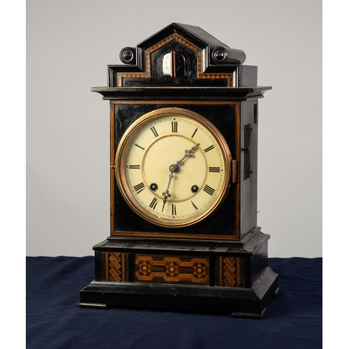 39 - BEHA STYLE NINETEENTH CENTURY EBONISED AND INLAID CUCKOO MANTLE CLOCK WITH TWIN FUSEE MOVEMENT, the ...