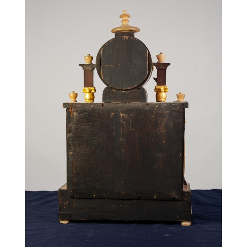 40 - NINETEENTH CENTURY BEIDERMEIER ALABASTER AND GILT METAL MOUNTED BURR WOOD PORTICO TYPE MANTLE CLOCK,...