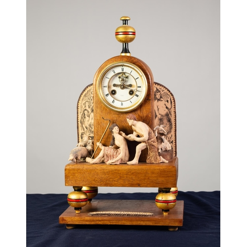 41 - 'DAPHNIS AND CHLOE COMPOSITE OAK AND POTTERY FIGURAL MANTLE CLOCK, THE DIAL SIGNED ROSKELL, PARIS, t...