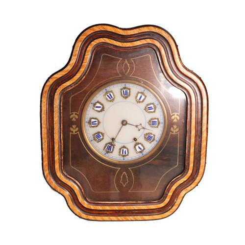 32 - NINETEENTH CENTURY FRENCH ROSEWOOD GRAINED AND BRASS INLAID COMTOISE TABLEAU OR BULLS EYE CLOCK, the...