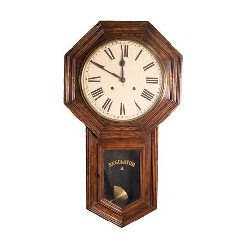 "34 - TWENTIETH CENTURY ANSONIA 'REGULATOR A' OAK CASED DROP DIAL WALL CLOCK, the 12"" Roman dial powered b..."