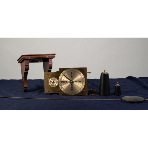 "35 - MODERN BRASS WEIGHT DRIVEN WALL CLOCK, the 5"" dial set beneath a subsidiary seconds dial to the arch..."