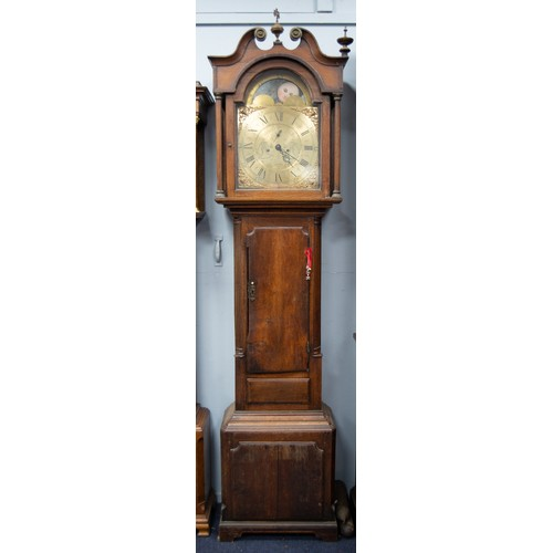 29 - LATE EIGHTEENTH CENTURY OAK LONG CASED CLOCK WITH ROLLING MOON PHASE, SIGNED SMITH, CHESTER, the 13 ...