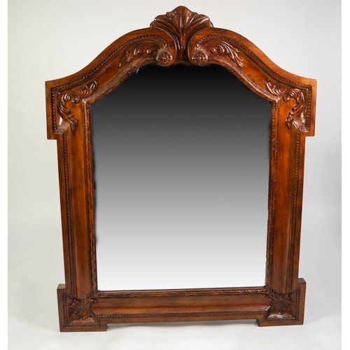 205 - GEORGIAN STYLE HEAVY CARVED MAHOGANY FRAMED PIER MIRROR, with rectangular bevelled edge plate, havin...