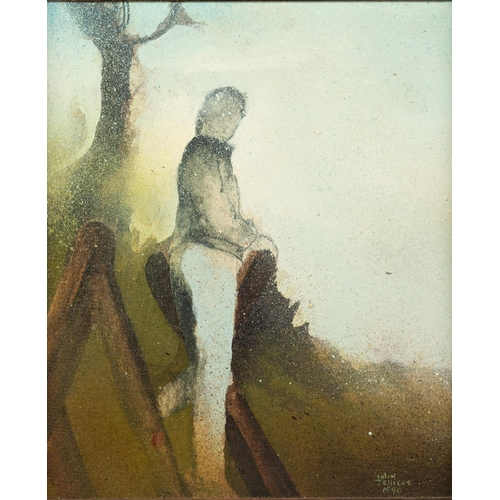 273 - COLIN JELLICOE (1942-2018) PAIR OF ACRYLICS ON BOARD 'Jackie on Nature Trail Steps''Jackie in Nature...