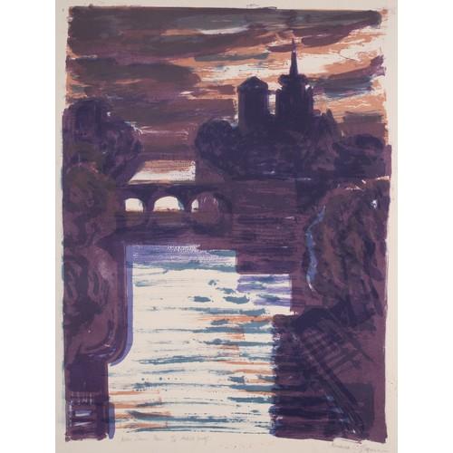 267 - NORMAN JAQUES (1922-2014)TWO COLOUR PRINTS'Notre Dame, Paris, ARTIST PROOF, (10/15) Manchester Canal...