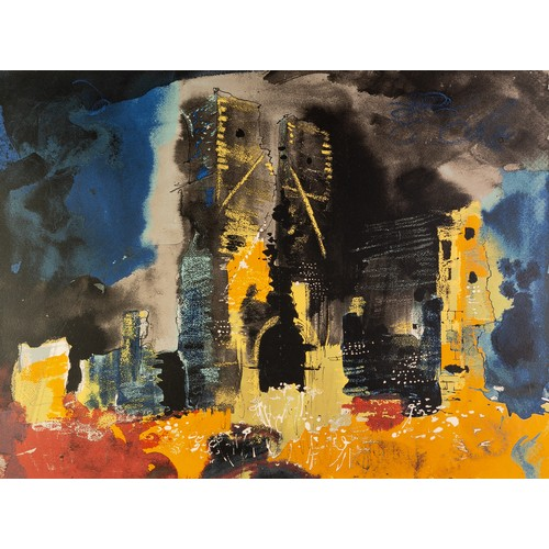 328 - JOHN PIPER (1903-1992) ARTIST SIGNED LIMITED EDITION COLOUR PRINT Ruined Church, Bawsey, (87/100) 17...