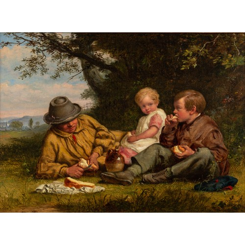 218 - WILLIAM BROMLEY II (act. 1835-1888) OIL ON RE-LINED CANVAS Father and two children having a pic-nic ...