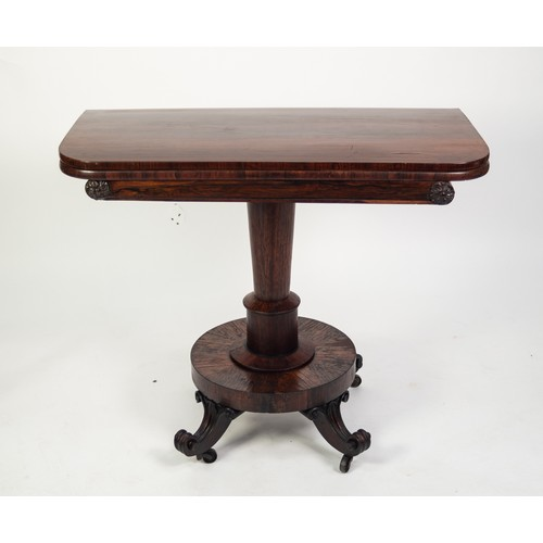 163 - NINETEENTH CENTURY ROSEWOOD PEDESTAL TEA TABLE, the rounded oblong swivel top with polished interior...
