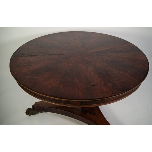164 - EARLY NINETEENTH CENTURY MULBERRY AND ROSEWOOD PEDESTAL DINING TABLE, the circular top in radiating ...