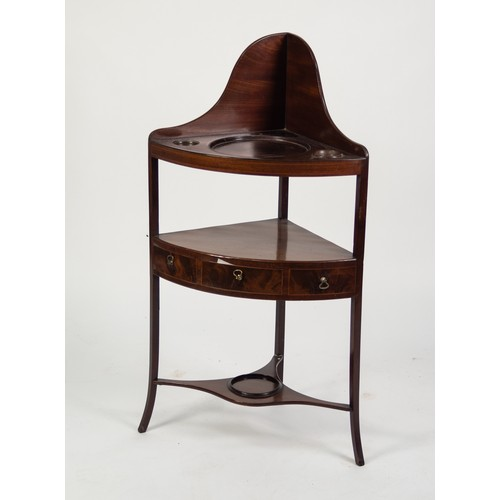 135 - GEORGIAN FIGURED MAHOGANY AND LINE INLAID CORNER WASHSTAND, of typical form with shaped, high back a...