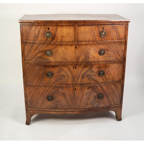 136 - EARLY NINETEENTH CENTURY FIGURED MAHOGANY BOW FRONTED CHEST OF DRAWERS, the shaped top with crossban...