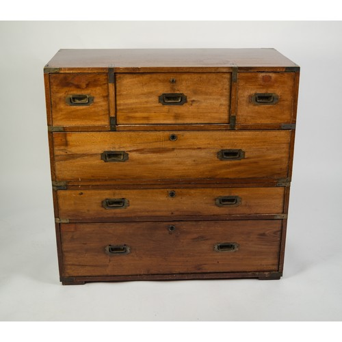 137 - EARLY TWENTIETH CENTURY TWO PART MAHOGANY CAMPAIGN SECRETAIRE CHEST, the brass mounted oblong top ab...