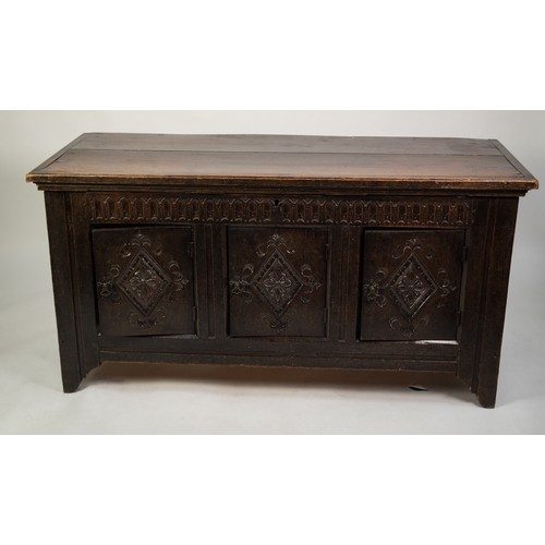110 - SEVENTEENTH CENTURY AND LATER COMPOSITE OAK CHEST, the oblong top above three panelled cupboard door...