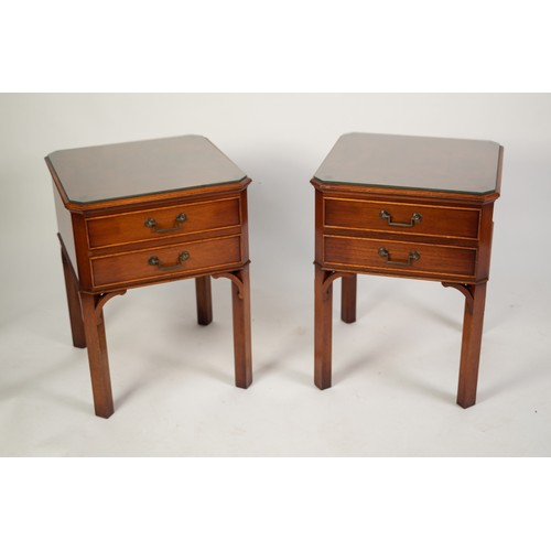 210 - PAIR OF GEORGIAN STYLE TWO DRAWER BEDSIDE TABLES, each with flame cut and crossbanded canted oblong ...