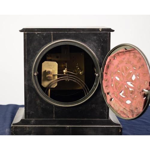 "21 - VICTORIAN BLACK SLATE MANTLE CLOCK, faintly signed GODWIN, HOLBURN, LONDON, the 6"" enamelled Roman d..."