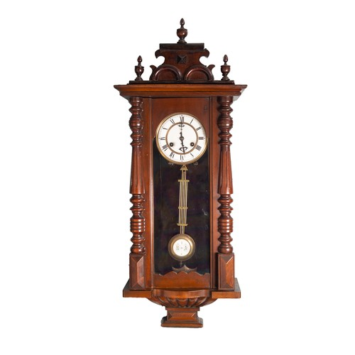 """26 - EARLY TWENTIETH CENTURY WALNUT CASED VIENNA WALL CLOCK, the 5"""" two part Roman dial powered by an eig..."""