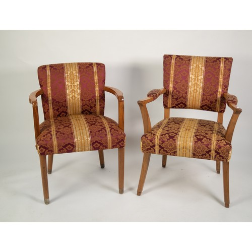 192 - SET OF THIRTEEN BLEACHED WALNUT BOARDROOM ARMCHAIRS, each with upholstered back, elbow pads and spru...