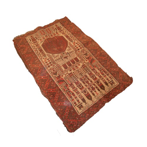 4 - ANTIQUE KOUDANI BELUCH PRAYER RUG, with unusual pictorial many towered mosque design, in brown and r...