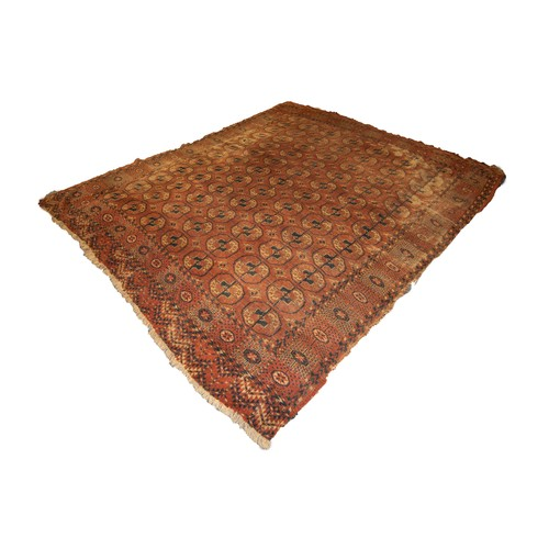 6 - OLD TURKOMAN BOKHARA CARPET with seven rows of twelve octagonal guls on a wine red field, broad prin...