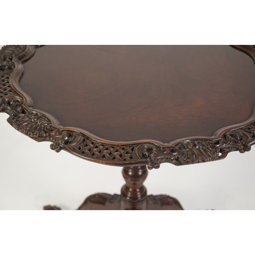 212 - GOOD QUALITY EARLY GEORGIAN STYLE MODERN REPRODUCTION CARVED MAHOGANY TRIPOD OCCASIONAL TABLE, the s...