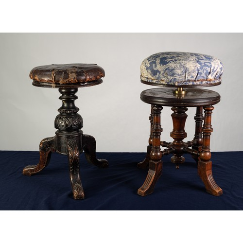 180 - TWO VICTORIAN ADJUSTABLE PIANO STOOLS WITH CIRCULAR SEATS, one in turned walnut, upholstered in blue...