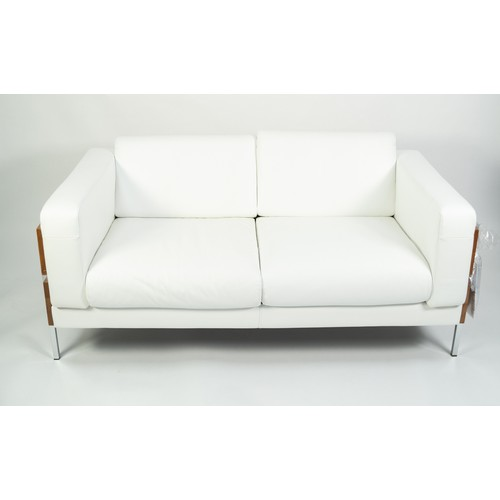 214 - ROBIN DAY FOR HABITAT, PAIR OF 'DAYS FORUM' WHITE LEATHER, ASH AND CHROME TWO SEATER SOFAS, each wit...