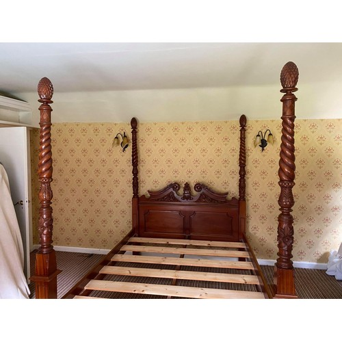 208 - MODERN CONTINENTAL CARVED MAHOGANY FOUR POSTER BED, with panelled ends, the headboard with foliate c...