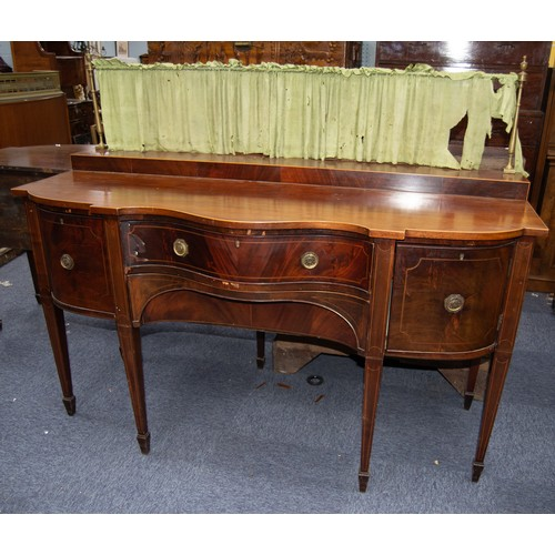 155 - EARLY NINETEENTH CENTURY MAHOGANY AND LINE INLAID SERPENTINE FRONTED SIDEBOARD, the shaped top with ...