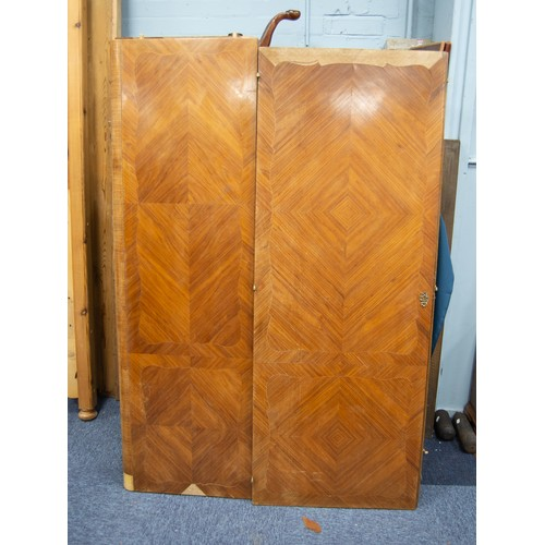 207 - FRENCH OAK CARCASE AND QUARTER VENEERED KINGWOOD ARMOIRE, the flat top above a pair of long doors an...