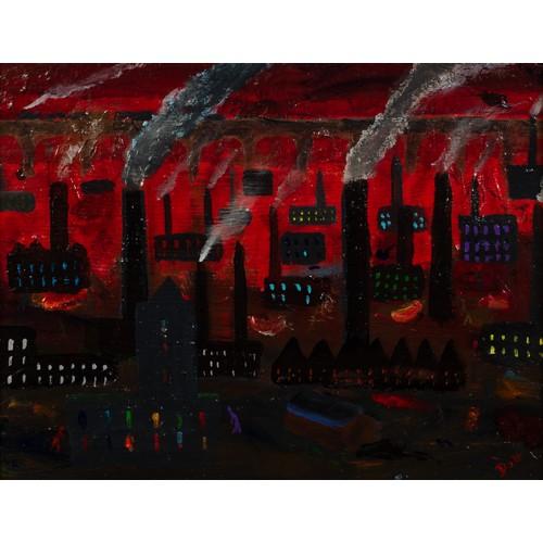 "259 - VINCENT DOTT (MODERN) OIL ON BOARD 'Industrial Sunset, Stockport' Signed, titled verso 10 ½"" x 13 ½""..."