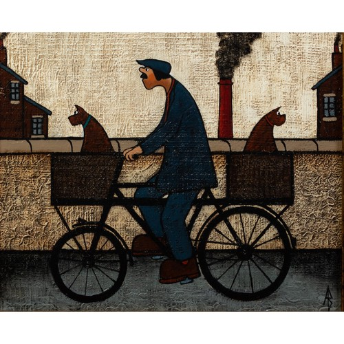 254 - ALBERT BARLOW (b.1944) OIL ON BOARD'Bike It, You'll Like It' Monogrammed, signed and titled verso 9 ...