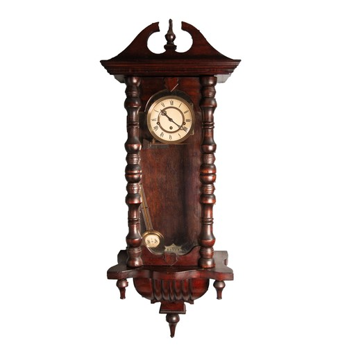 "38 - VIENNA STYLE DARK STAINED MAHOGANY SPRING DRIVEN WALL CLOCK, the 5"" two part Roman dial, powered by ..."