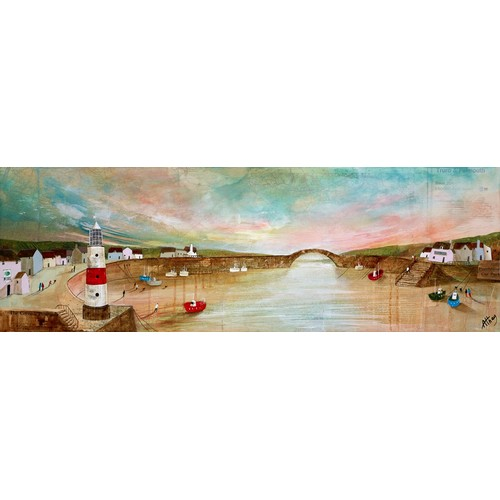 """290 - KEITH ATHAY (MODERN)MIXED MEDIA ON BOX CANVAS'Harbour Sunset' Signed 12"""" x 35"""" (30.5cm x 89cm)C/R- i..."""