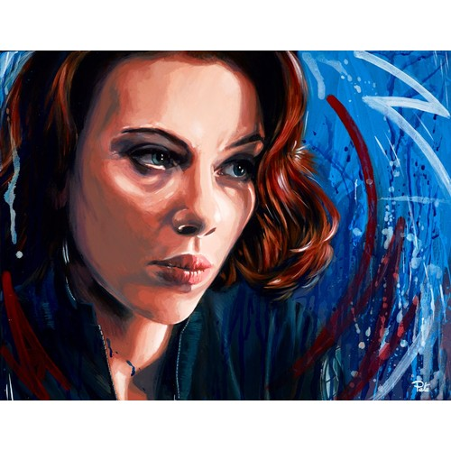 "311 - PETE HUMPHREYS (MODERN) OIL ON CANVAS'Scarlett Johansson, Black Widow' Signed 28"" x 36"" (71.1cm x 91..."