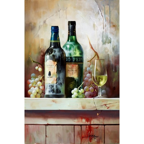 """330 - JOSE MANUEL REYES (b.1963) OIL ON BOARD'Vino Anejo III' Signed, titled to gallery label verso 24"""" x ..."""