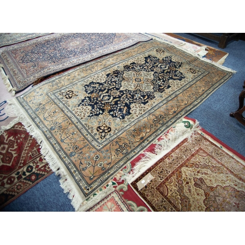 8 - FINELY KNOTTED PAKISTAN 'KASHAN' PATTERN RUG with quatrefoil petal pattern medallion with pendants o...