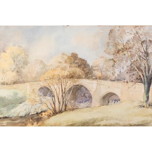 243 - DAVID M. HARRISON (TWENTIETH CENTURY) WATERCOLOUR DRAWING 'The Devil's Bridge, Kirby Lonsdale' Signe...