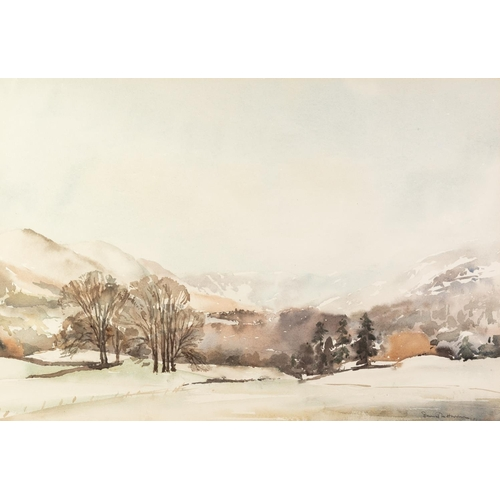 244 - DAVID M. HARRISON (TWENTIETH CENTURY) WATERCOLOUR DRAWING 'Escape to the Hills' Signed, titled to la...
