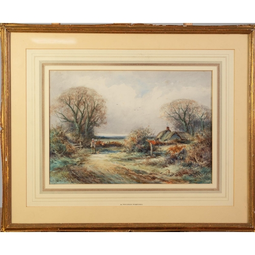 246 - ALEXANDER MOLYNEUX STANNARD (b. 1885) WATERCOLOUR DRAWING A country lane with a figure and thatched ...