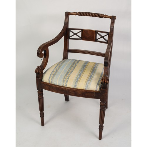 134 - EARLY NINETEENTH CENTURY CARVED MAHOGANY AND LINE INLAID CARVER ARMCHAIR, the rope twist top rail ab...
