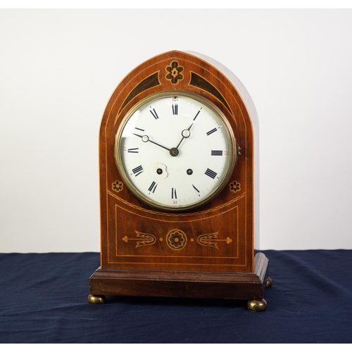 43 - EARLY 20th CENTURY, LATE GEORGIAN STYLE, INLAID MAHOGANY LANCET ARCH TOP MANTEL CLOCK, with French 8...