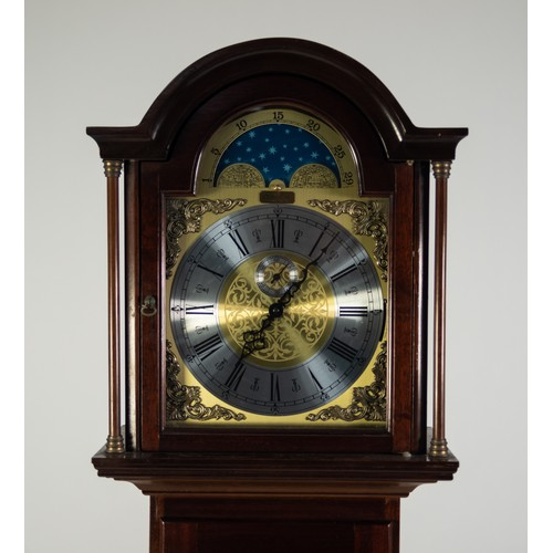 47 - RICHARD BROAD, BODMIN, CORNWALL, MODERN GRANDMOTHER CLOCK, with weight driven movement, arched brass...