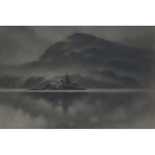 256 - MARTIN DOBSON (b.1947) MONOCHROME PASTEL DRAWING, heightened in white 'Lake Island (Ullswater)' Sign...