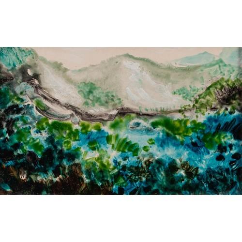 280 - KENNETH LAWSON (1920 - 2008) ACRYLIC ON BOARD 'Landscape near Italian Border', Menton, France, 2005 ...
