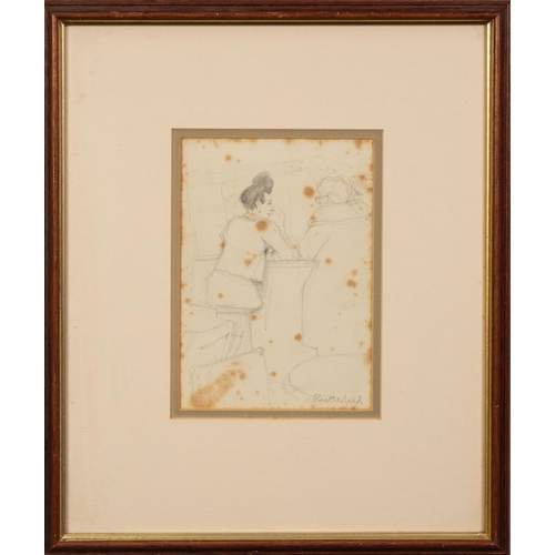 """287 - HARRY RUTHERFORD (1903-1985) PENCIL SKETCH Two figures at a bar Signed 6 ¾"""" x 4 ¾"""" (17.1cm x 12cm) C..."""