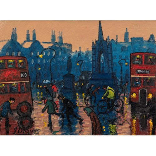 """261 - JAMES DOWNIE (b.1949) ACRYLIC ON CANVASAlbert Square, Manchester Signed and dated 2011 11 ¼"""" x 15 ¼""""..."""
