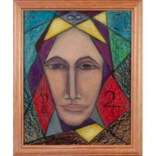 283 - GOLDA ROSE (1921-2016) ACRYLIC ON BOARD 'The Magician, (The Mage)', female portrait with symbols Uns...