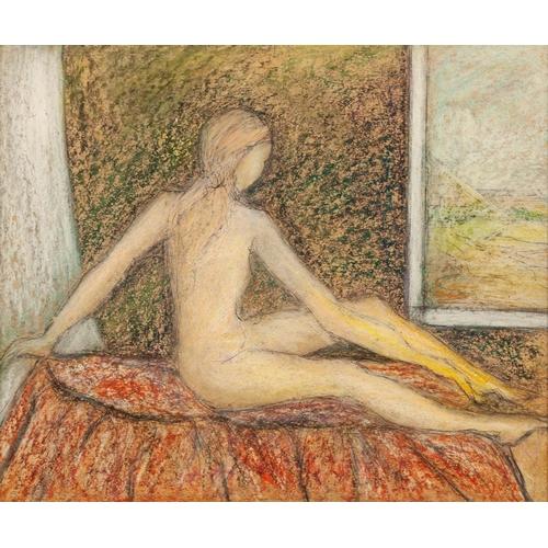 "285 - GOLDA ROSE (1921-2016) MIXED MEDIA ON BOARD 'Girl Bathing I', seated female nude Unsigned 10 ½"" x 12..."