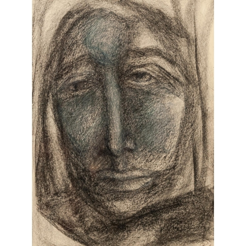 """284 - GOLDA ROSE (1921-2016) Graphite, heightened in blue Head of a Woman Signed 10 ½"""" x 7 ¾"""" (26.7cm x 19..."""